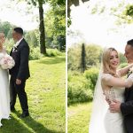 bride and groom in gardens of druids glen hotel wedding