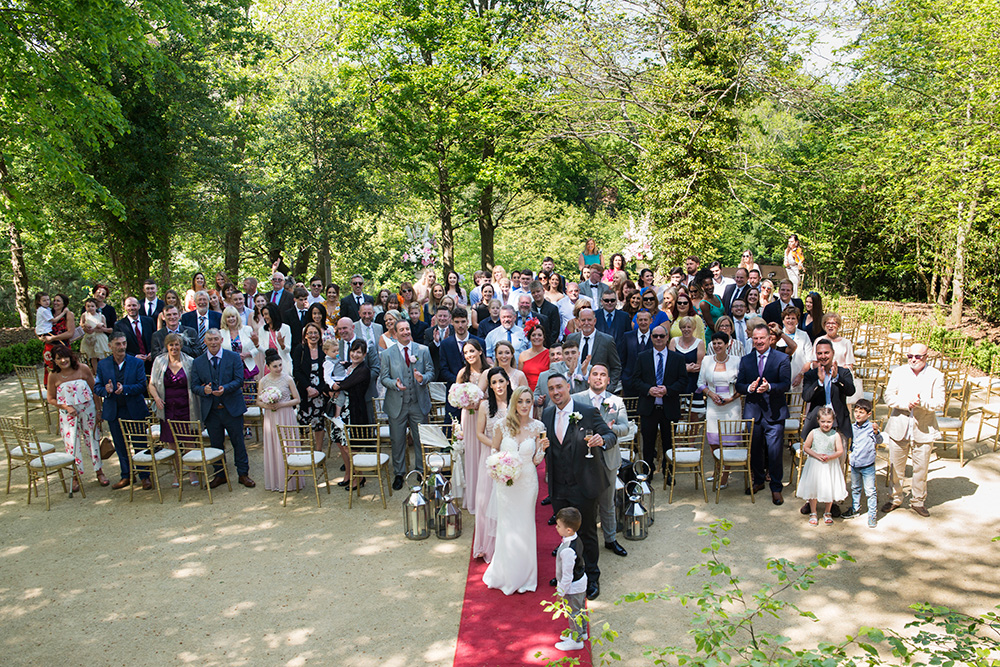 group shot outdoors wedding ceremony druids glen