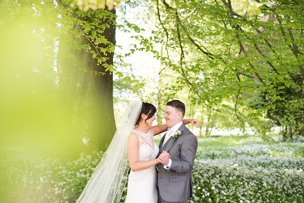 wedding couple at Rathsallagh House grounds