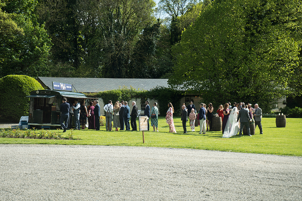 guests outside at Rathsallagh House wedding