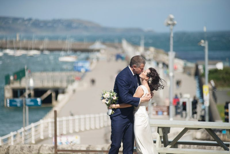 wedding on dun laoghaire pier seafront