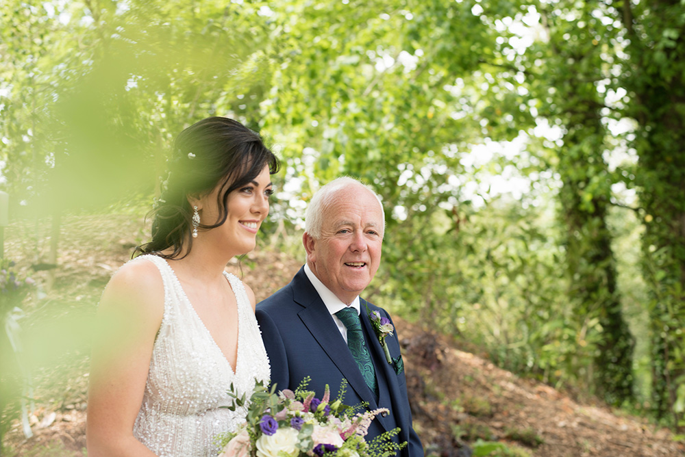 going down the aisle for wedding ceremony at druids glen hotel