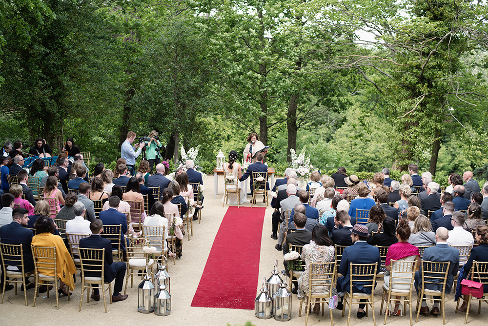 overview of wedding ceremony at druids glen hotel