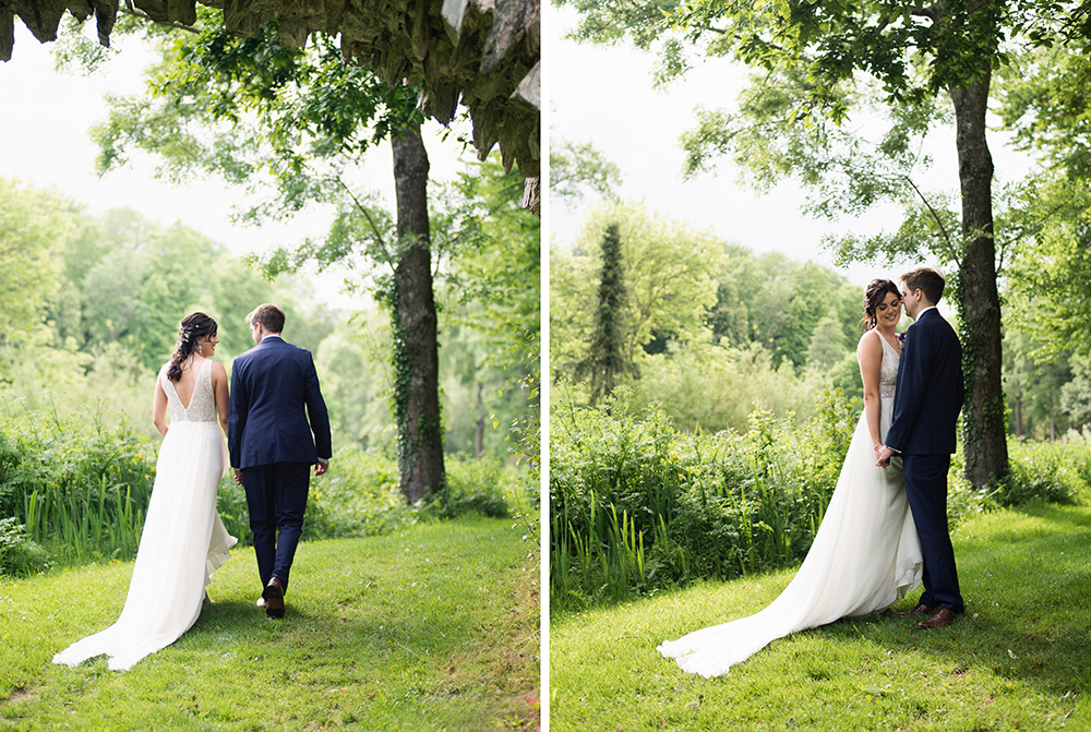 wedding photos around the grounds and woodland of Druids Glen