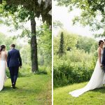 bride and groom in druids glen grounds summer wedding