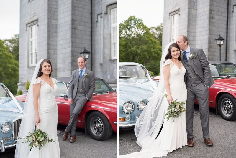 bride and groom with classic cars outside kinnitty castle wedding