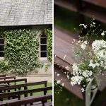 church pews outdoor wedding ceremony at brooklodge
