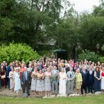 group photo of all the guests at brooklodge wedding