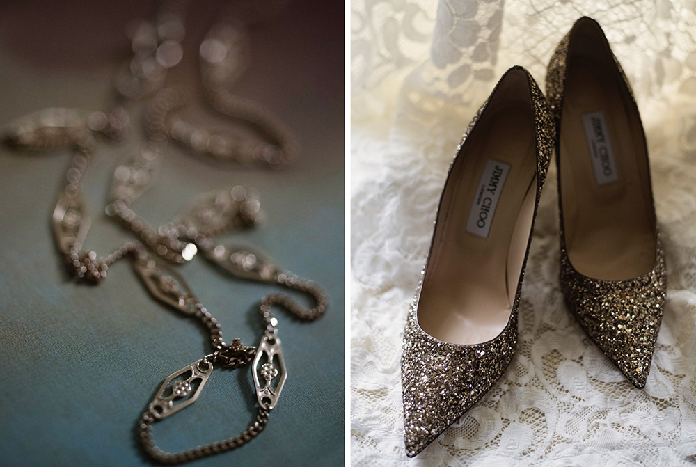 wedding day details and shoes at brooklodge hotel wedding