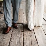 bride and grooms legs as they walk in brooklodge wedding