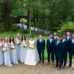 bridesmaids and groomsmen at brooklodge hotel summer wedding