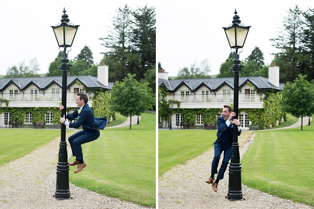 Groom at Brooklodge Hotel wedding