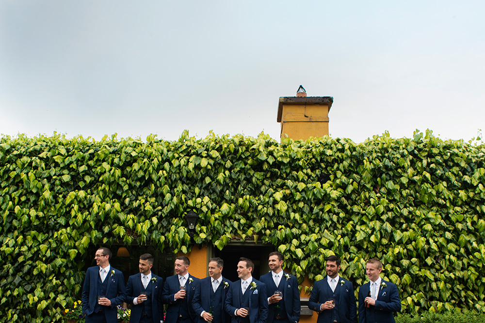 Groomsmen outside at Brooklodge Hotel wedding