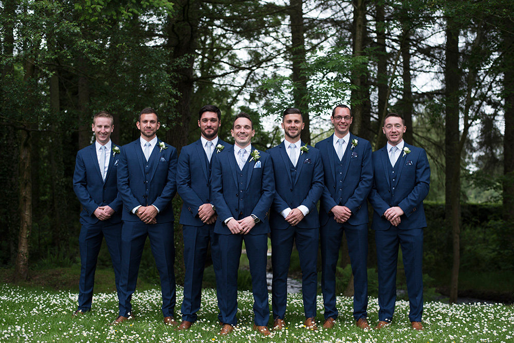 Groomsmen at outdoor wedding in Brooklodge Hotel