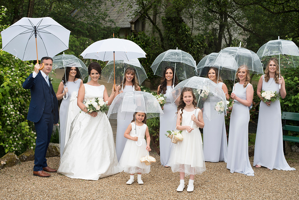 bridesmaids in the rain at Brooklodge Hotel