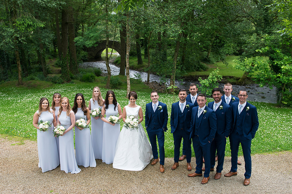 bridal party outdoors at Brooklodge Hotel