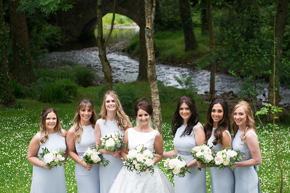 bridesmaids at Brooklodge Hotel grounds