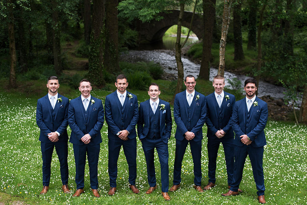 groomsmen at summer wedding in Brooklodge Hotel