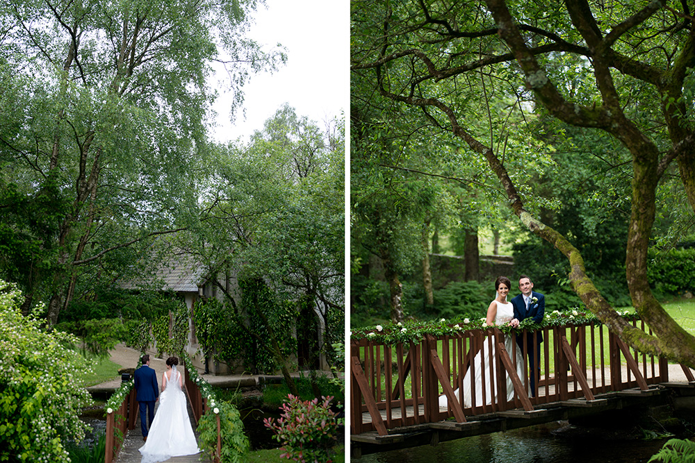 bride and groom on bridge of Brooklodge Hotel