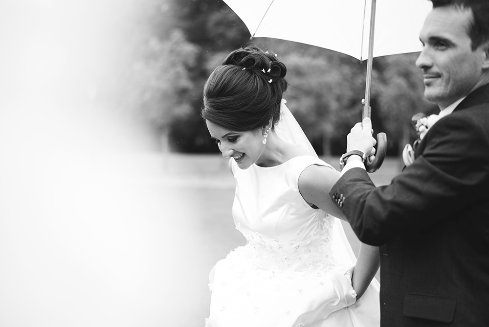 rainy wedding day at Brooklodge Hotel