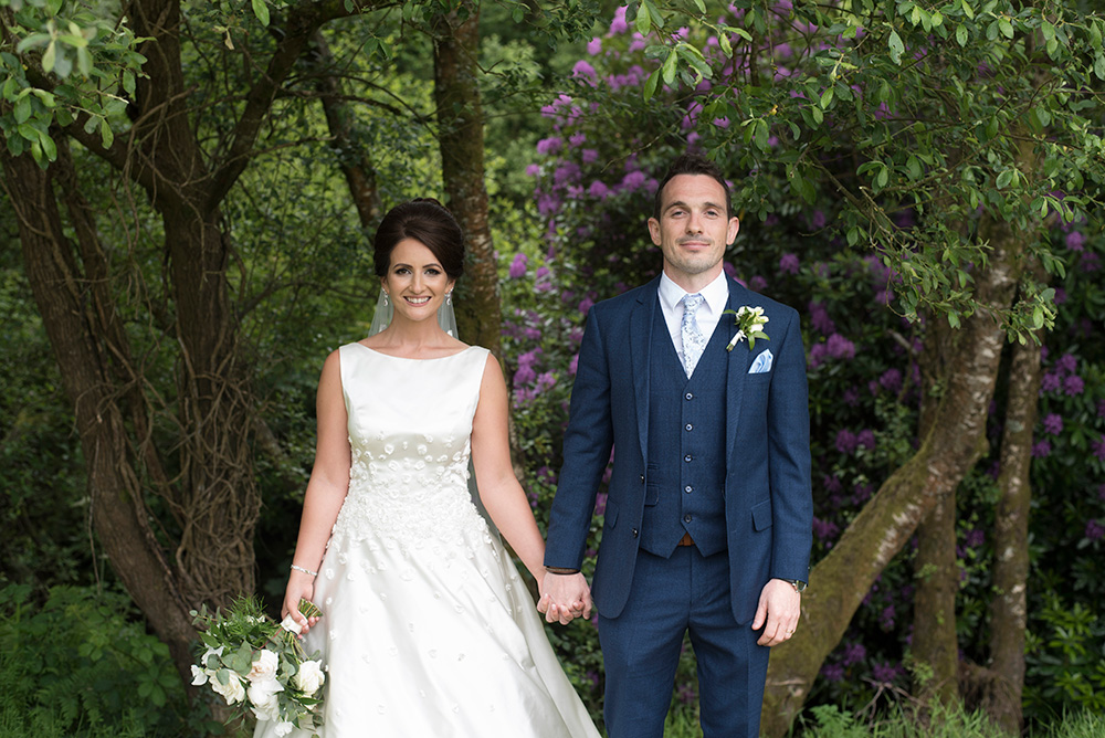 bride and groom summer wedding at Brooklodge Hotel