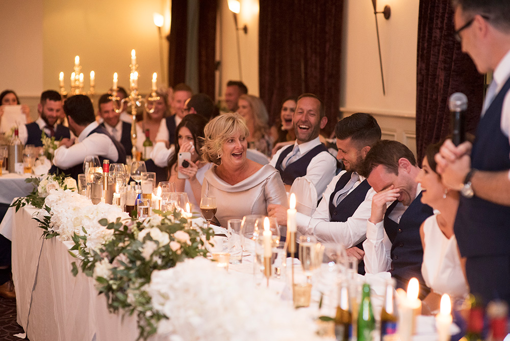 wedding speeches in function room of Brooklodge Hotel