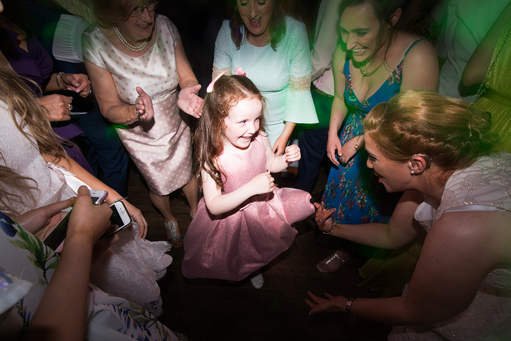 dancing at wedding in Brooklodge Hotel