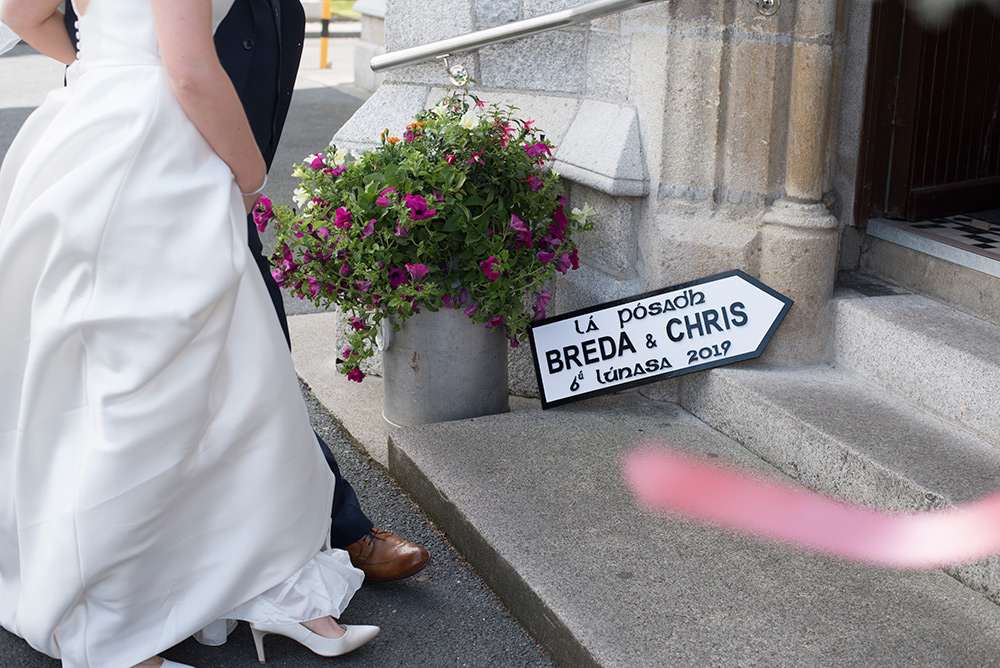 bride arriving at St Clares Church Graiguecullen