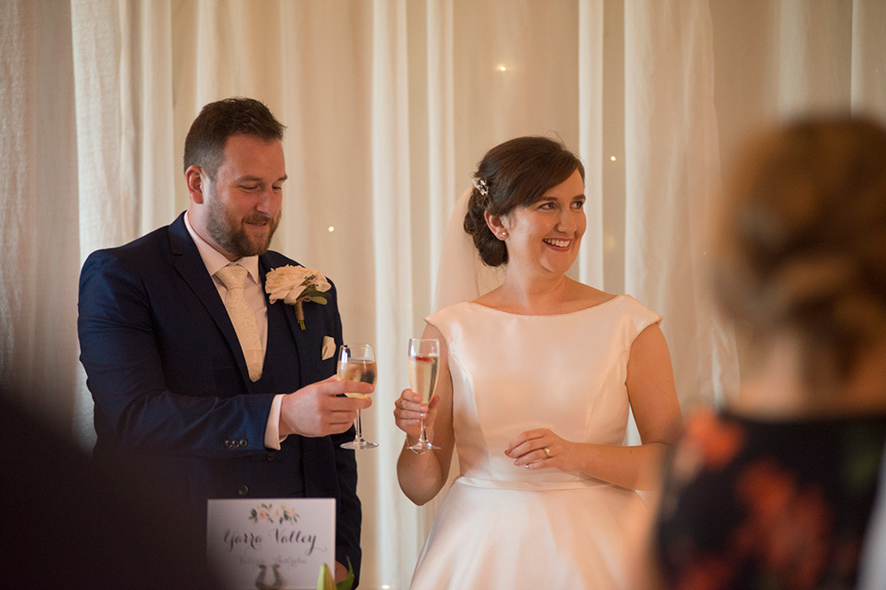 bride and groom toast at speeches at lyrath estate hotel kilkenny