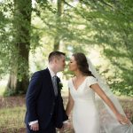 bride and groom in woods in rathsallagh wedding