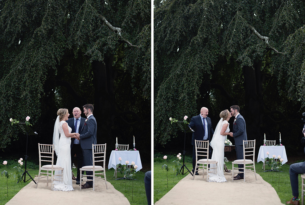 outdoor wedding ceremony at bellinter house under the tree