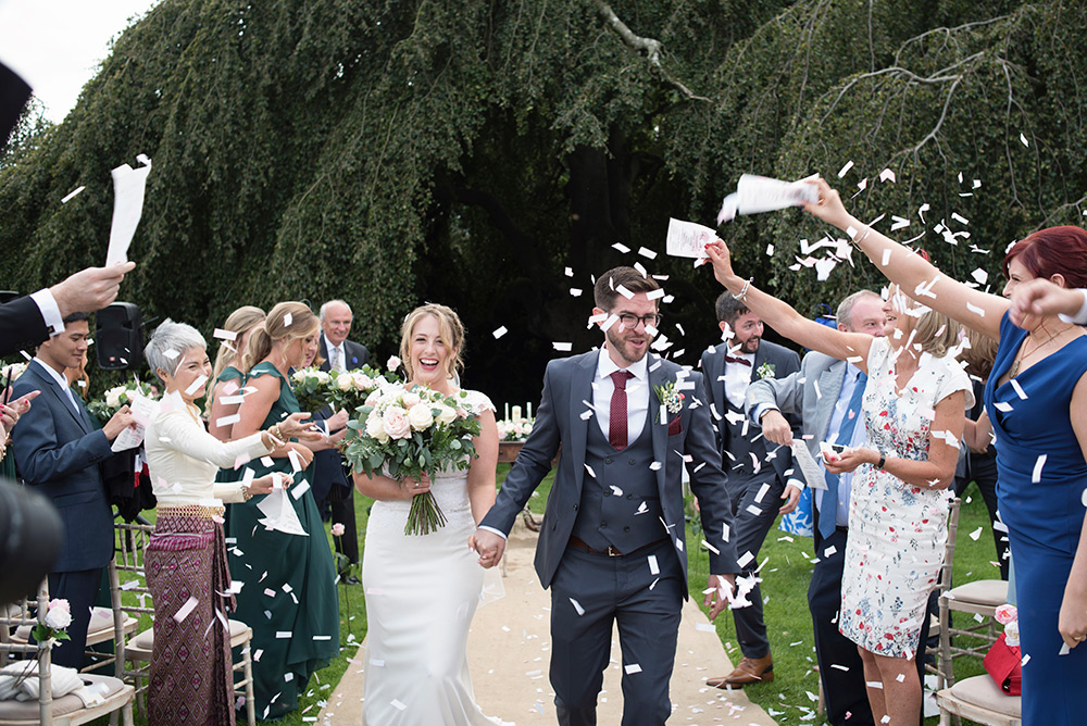 confetti throwing at wedding at bellinter house wedding
