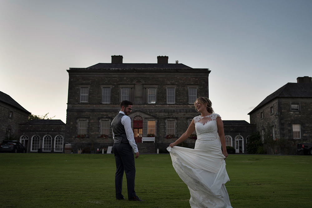 sunset wedding photos at bellinter house wedding
