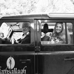 the bride and her father arrive at the wedding ceremony in rathsallagh jeep