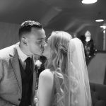 bride and groom kiss during their wedding ceremony at rathsallagh chapel