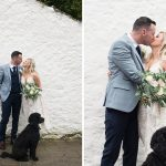 bride and groom with their dog at rathsallagh house hotel wedding