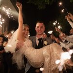 bride and groom with sparklers wedding night time photos at rathsallagh house hotel