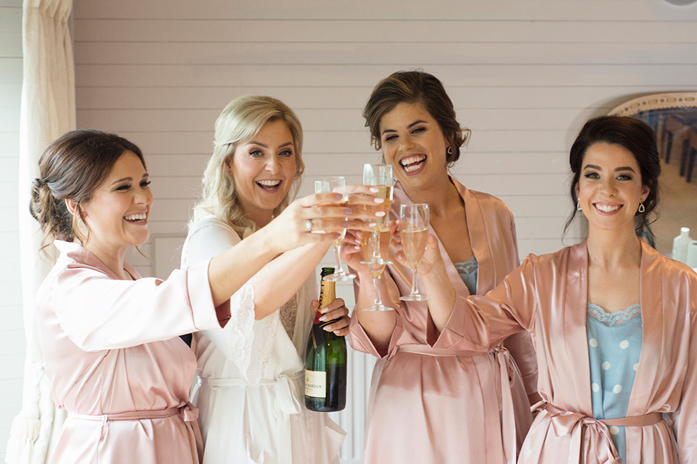 bridesmaids getting ready at rathsallagh house hotel