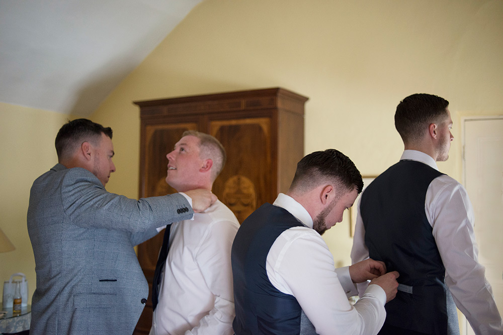 groomsmen getting ready at rathsallagh hotel