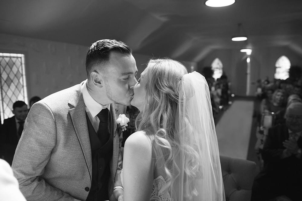 first kiss autumn wedding at rathsallagh house hotel