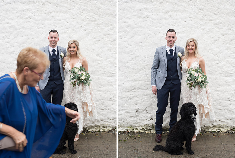 wedding couple and their dog at wedding at rathsallagh house hotel