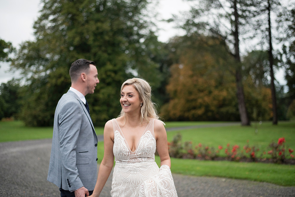bride and groom on the grounds of rathsallagh house