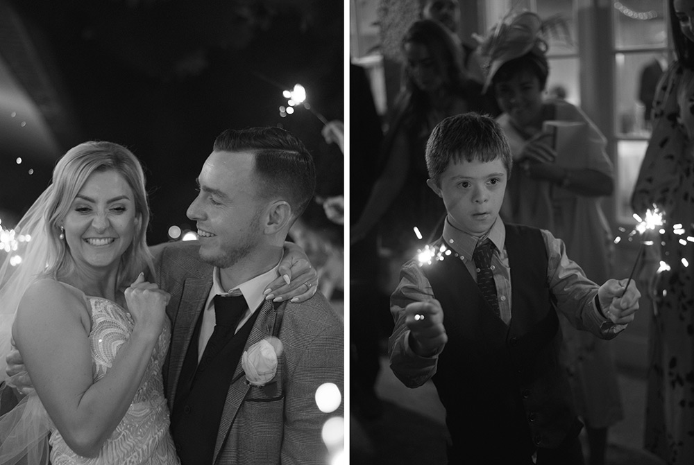 couple with sparklers at nightime wedding at rathsallagh house hotel
