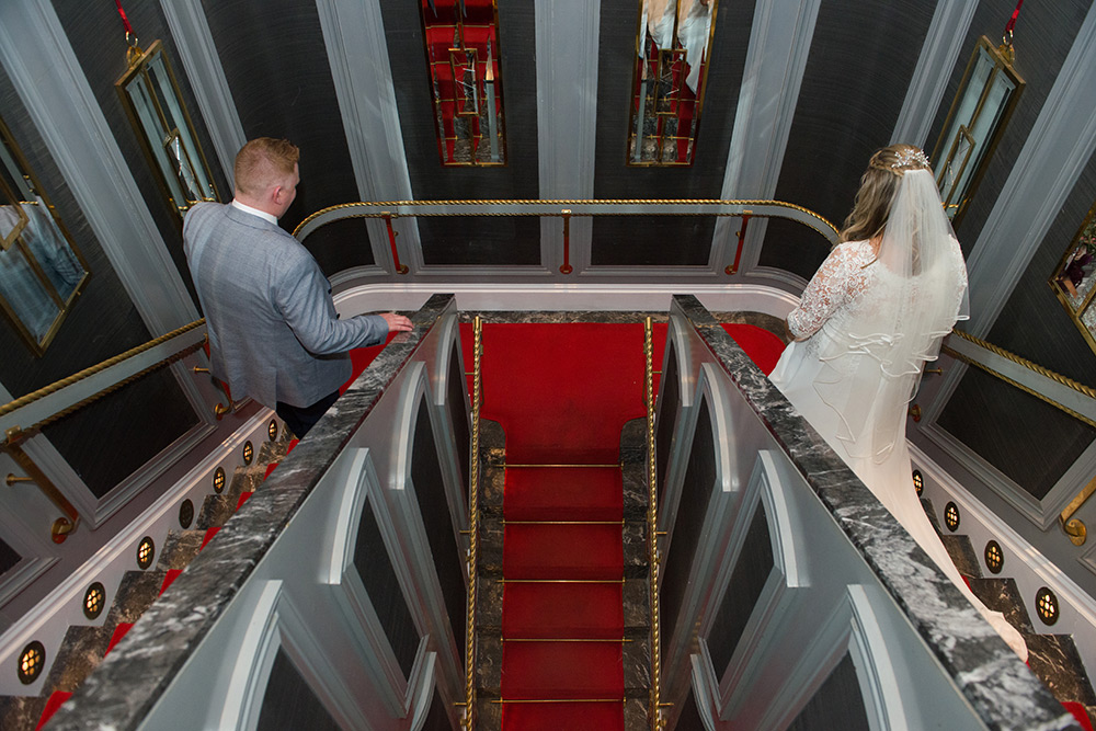 wedding couple at set theatre at langtons hotel kilkenny