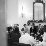 guests mingle at cliff townhouse wedding