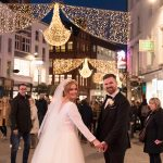bride and groom on grafton street dublin
