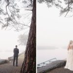 first look at foggy lakeside at coolbaun quay wedding