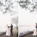 first look at foggy lakeside coolbaun quay wedding