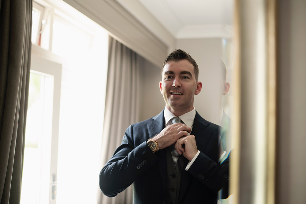 groom getting ready for wedding at druids glen hotel