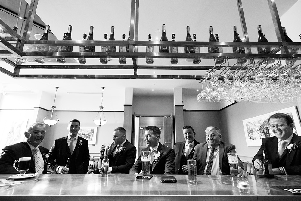 groomsmen in the bar at druids glen hotel